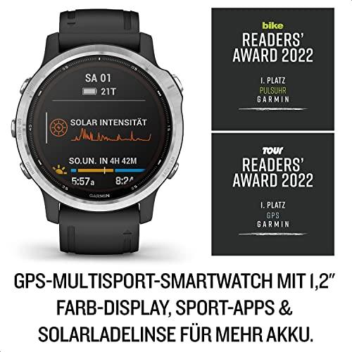 """Garmin fenix 6S Solar – schlanke GPS-Multisport-Smartwatch mit Solar-Ladefunktion für bis zu 10 Tage Akku. 1,2"""" Display für schmale Handgelenke, mit vorinstallierten Sport-Apps, robust und wasserdicht - 3"""