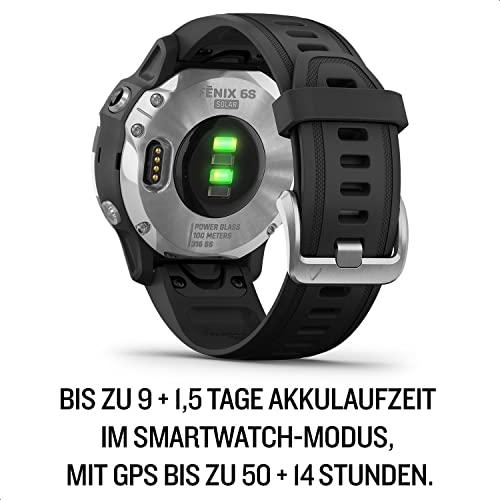 """Garmin fenix 6S Solar – schlanke GPS-Multisport-Smartwatch mit Solar-Ladefunktion für bis zu 10 Tage Akku. 1,2"""" Display für schmale Handgelenke, mit vorinstallierten Sport-Apps, robust und wasserdicht - 6"""