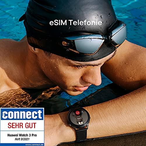 HUAWEI WATCH 3 Pro - 4G Smartwatch, 1.43'' AMOLED Display, eSIM Telefonie, 5 Tage Akkulaufzeit, 24/7 SpO2 & Herzfrequenzmessung, GPS, 5ATM, 30 Monate Garantie, braunes Lederarmband - 2