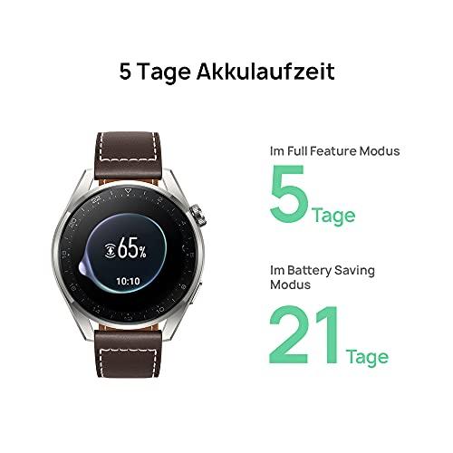 HUAWEI WATCH 3 Pro - 4G Smartwatch, 1.43'' AMOLED Display, eSIM Telefonie, 5 Tage Akkulaufzeit, 24/7 SpO2 & Herzfrequenzmessung, GPS, 5ATM, 30 Monate Garantie, braunes Lederarmband - 4