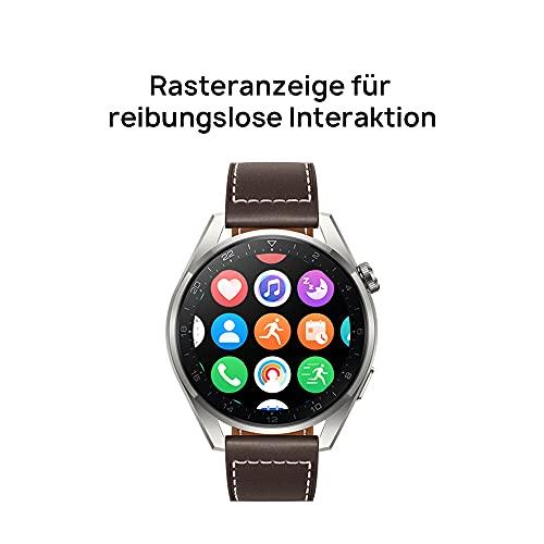 HUAWEI WATCH 3 Pro - 4G Smartwatch, 1.43'' AMOLED Display, eSIM Telefonie, 5 Tage Akkulaufzeit, 24/7 SpO2 & Herzfrequenzmessung, GPS, 5ATM, 30 Monate Garantie, braunes Lederarmband - 5