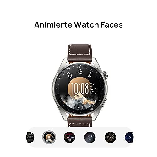 HUAWEI WATCH 3 Pro - 4G Smartwatch, 1.43'' AMOLED Display, eSIM Telefonie, 5 Tage Akkulaufzeit, 24/7 SpO2 & Herzfrequenzmessung, GPS, 5ATM, 30 Monate Garantie, braunes Lederarmband - 6